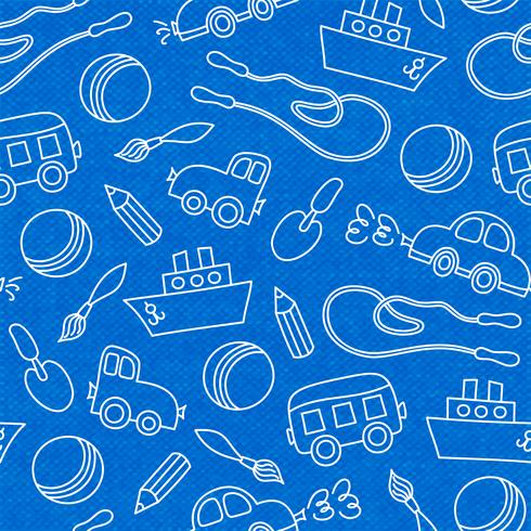 Seamless doodle barn leksaker mönster vektor
