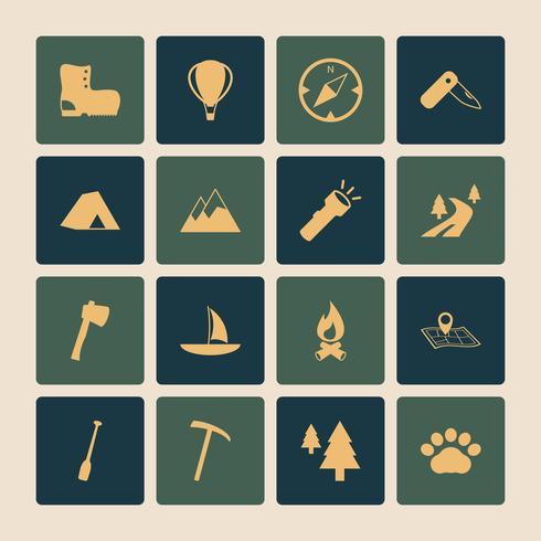Conjunto de iconos planos de turismo al aire libre Camping