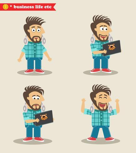 Erfahrene IT-Typ-Emotionen in Posen, stehend