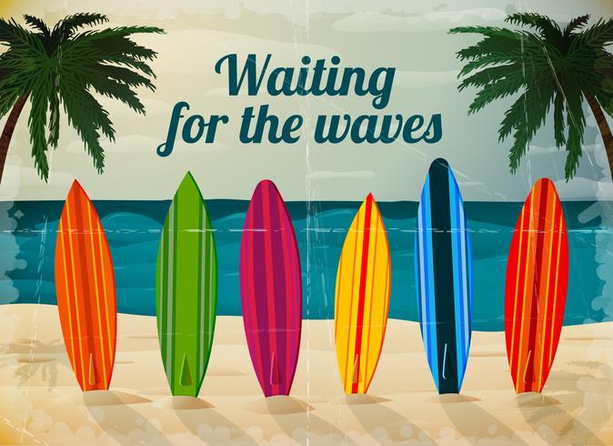 Semester surfbrädor på havet stranden vektor
