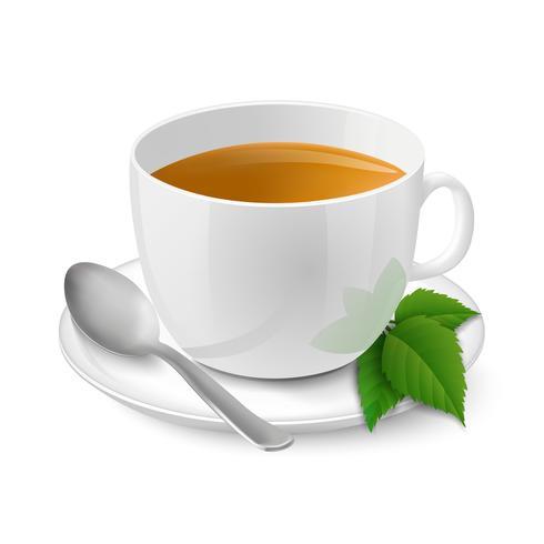 Realistico tazza bianca con tè nero e menta