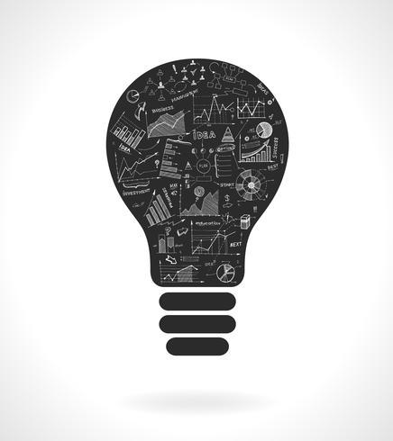 Doodle Idee Glühbirne Symbol mit Infografiken Diagrammen