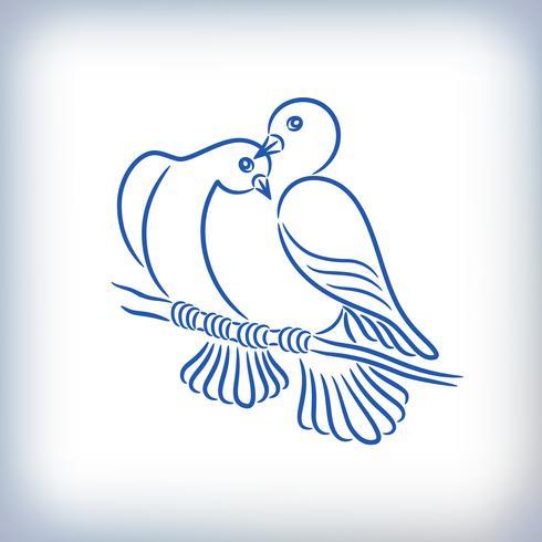 Símbolo de dois pombos adoráveis