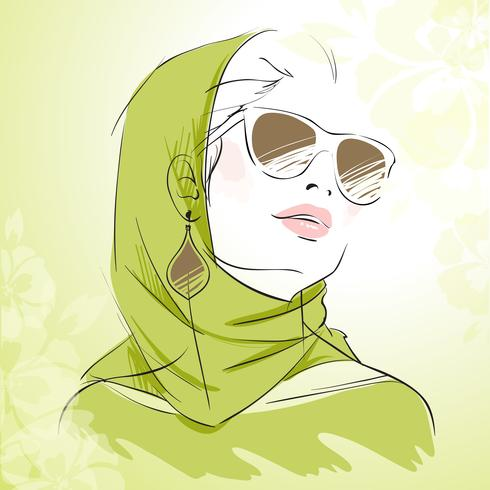 Spring fashion girl portrait in green colors vector