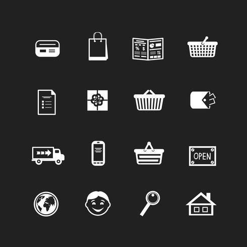 Sammlung von E-Commerce-Schnittstellenpiktogrammen