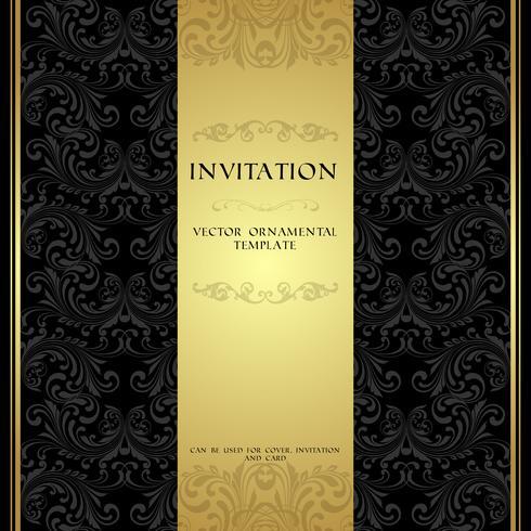 Invito ornamentale nero e oro