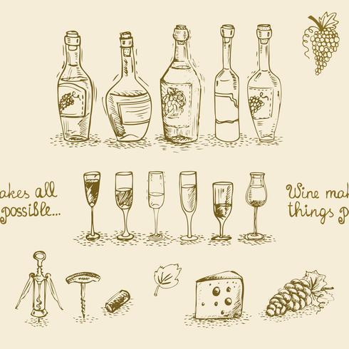 Conjunto de garrafas de vinho e copos