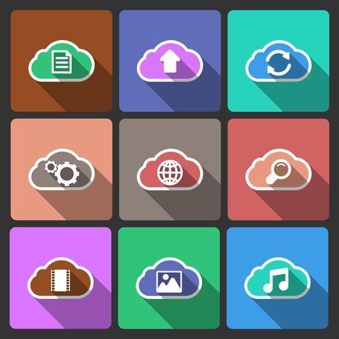 Icone di layout dell'interfaccia utente cloud, ombre quadrate vettore