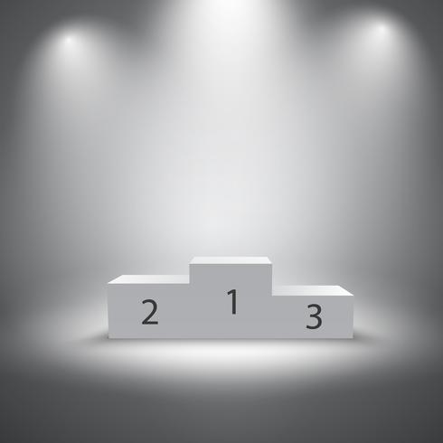 Illuminated sports winners podium vector