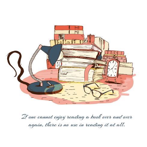 Böcker som läser stilleben