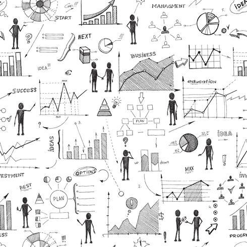 Seamless doodle web infographics bakgrund