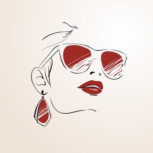 Visage de femme sensuelle avec des lunettes