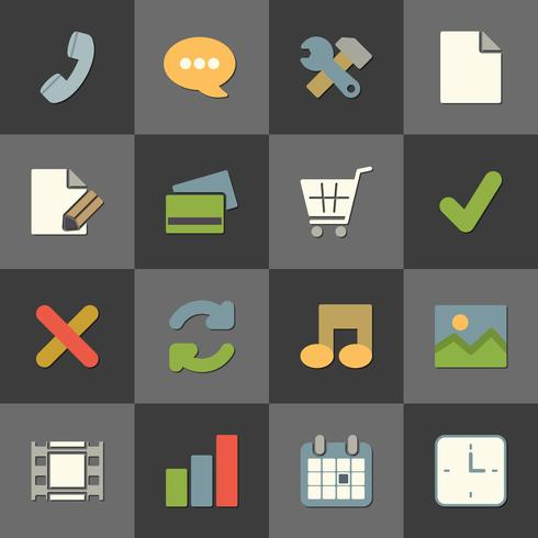 Online shopping website iconset, color flat vector
