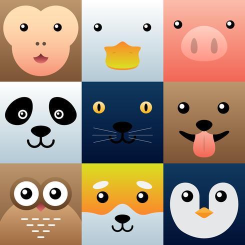 Conjunto de elementos de caras de animales simples coloridos vector