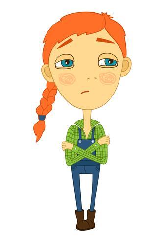 Sulky tjej med flätor och stora ögon som inte ler