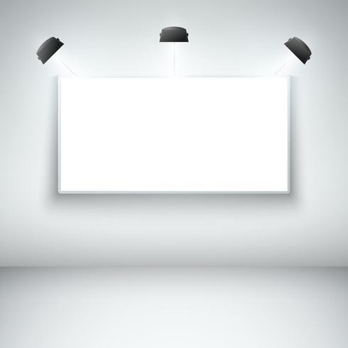 Cornice della galleria vuota illuminata vettore