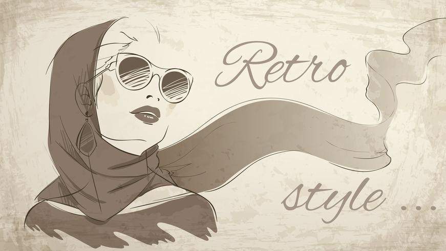 Mooi retro vrouwenportret dat hoofddoek draagt