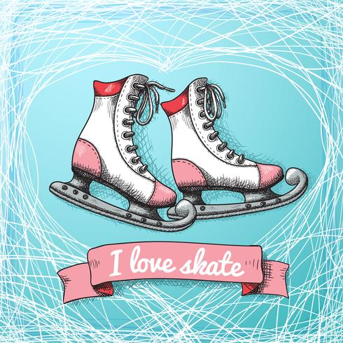 Houd van skate-kaartthema