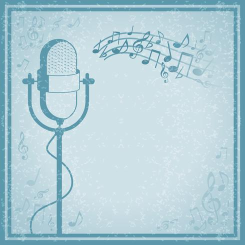 Microphone with music on vintage background vector