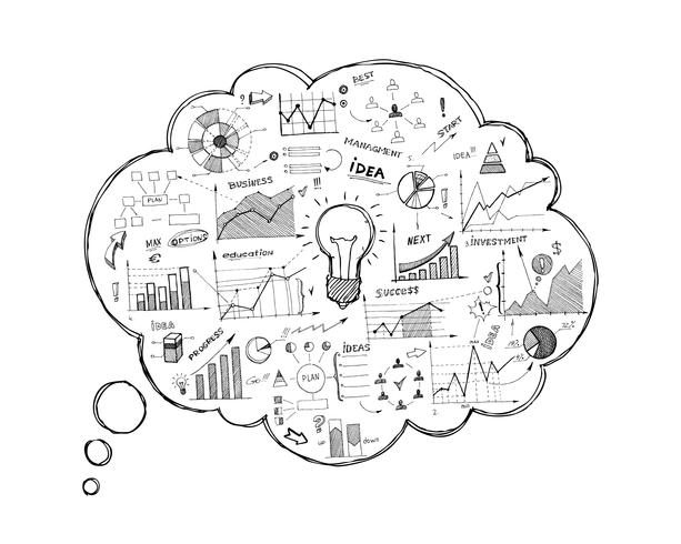 Icône de bulle de dialogue Doodle avec infographie