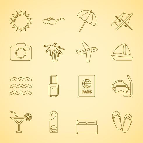 Iconset di viaggio generico, contorno piatto