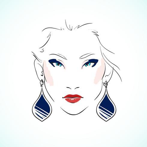 Elegant young model face vector