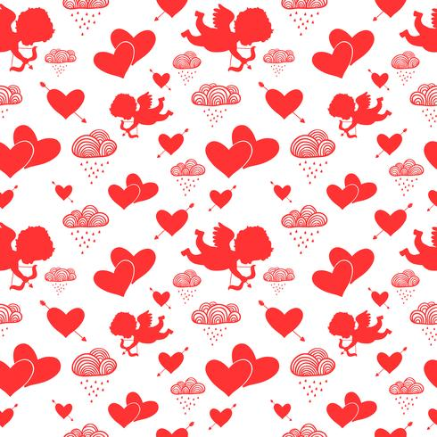 Love cupids hearts arrows and clouds seamless pattern vector