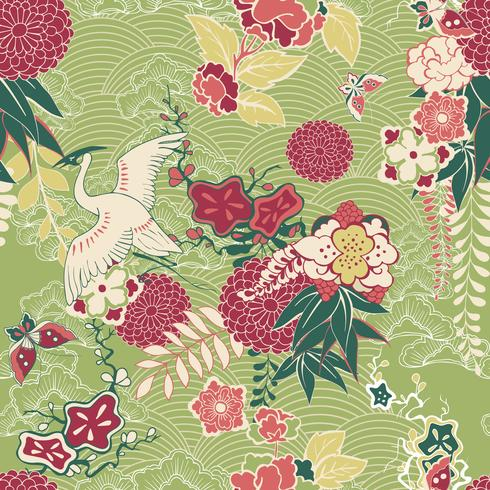 Oriental silk pattern vector
