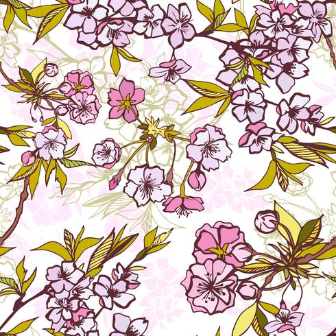 Seamless background pattern with blossoming sakura