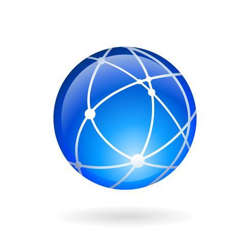 Global teknik eller sociala nätverk emblem