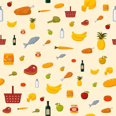 Fundo sem emenda de itens alimentares de supermercado