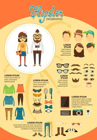 Infografía hipster con elementos de diseño de moda.