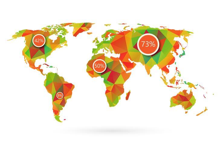 Mappa del mondo poligonale