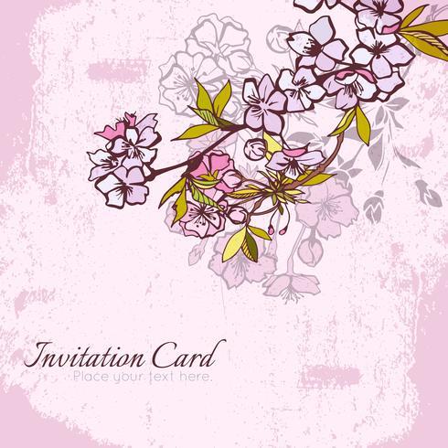 Postal de la invitación de la cereza o de Sakura del flor