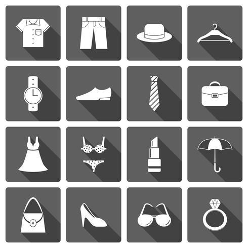 Conjunto de ícones de sapatos de acessórios de roupas