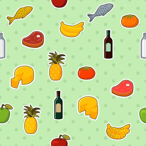 Supermarket foods seamless pattern