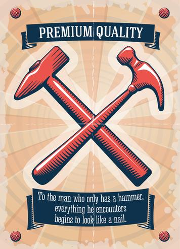 Dos martillos retro de la tienda de herramientas.