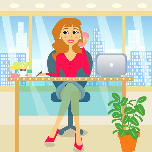 mujer en la oficina vector