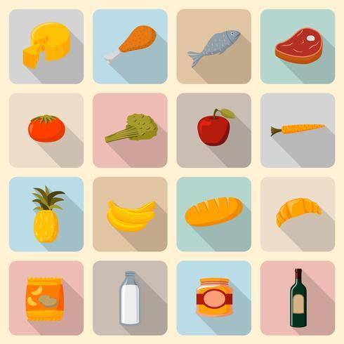 Supermarket livsmedel ikoner uppsättning