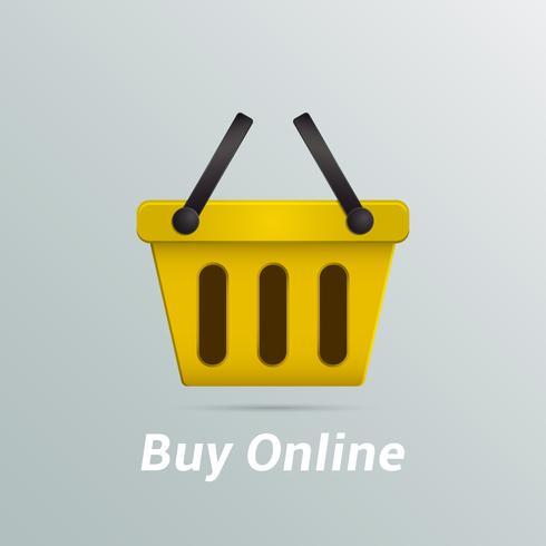 Shopping basket buy now online vector