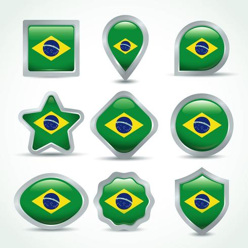 Brasilien Flag Clipart Set