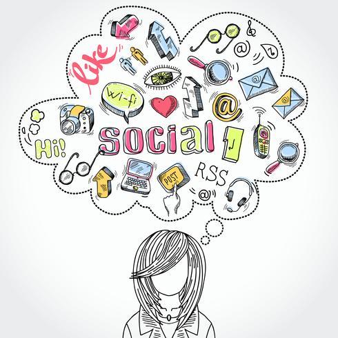 Doodle sonhos e pensamentos de mídias sociais vetor