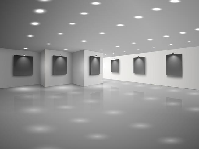 Interior do salão branco vazio com telas pretas em branco