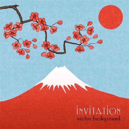 Sakura inbjudningskort bakgrund eller affisch vektor