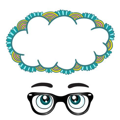 Occhiali con gli occhi che sognano concetto