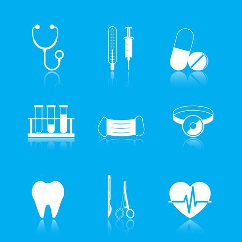 Hälso-och sjukvård verktyg ikoner uppsättning