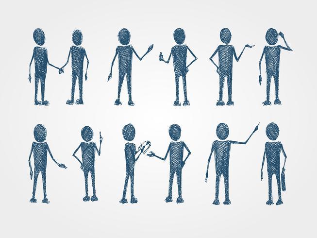 Conjunto de doodle busines pessoas colaboração vetor