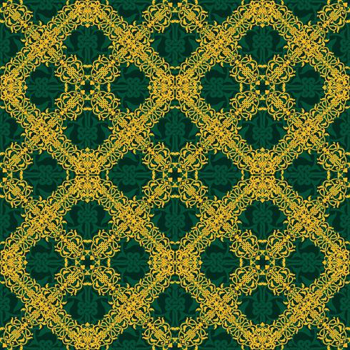Seamless pattern giallo e verde in stile arabo o musulmano