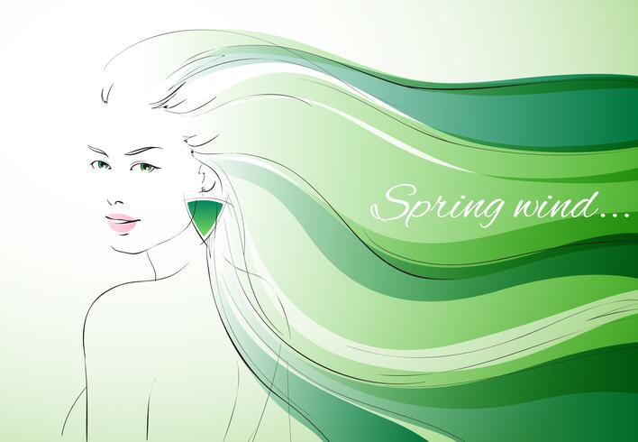 Wind of spring background vector