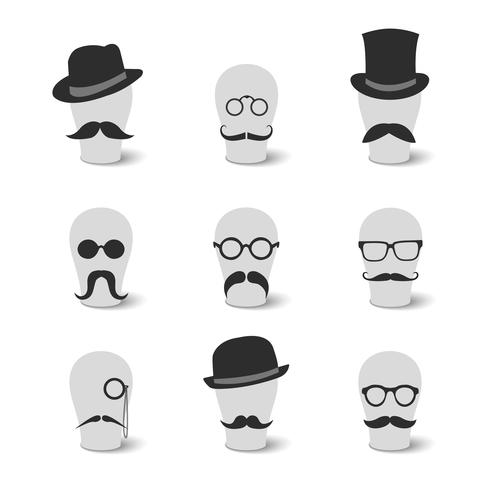 Collezione di cappelli e occhiali vintage baffi